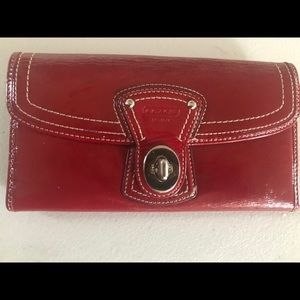 Coach patent red turn lock wallet